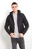 Mens Black Double Stripe Puffer Jacket