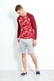 Mens Red Brave Soul Camo Raglan T-Shirt