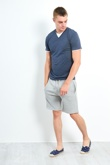 Mens Denim  Button Detail Can V Neck Tee