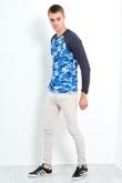 Mens Blue Brave Soul Camo Raglan T-Shirt