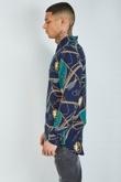 Mens Navy Chain Knot Print Long Sleeve Shirt