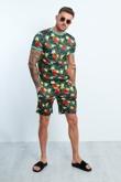 Black Tropical Printed T-shirt And Shorts Set