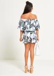 White Tropical Printed Bardot Set