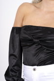 Black silk off the shoulder tie front bodysuit