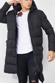 Mens Black Longline Hooded Puffer Coat