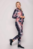 Dusty Textured Tie Dye Hooded Top And Leggings Active Set