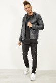 Mens Black Faux Leather Hooded Biker Jacket