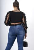 Black floral applique mesh sleeve ribbed crop top