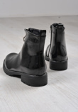 Black Patent O Ring Zip Front Diamante Boots