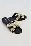 Black Pearl Embellished Slip On Sandals
