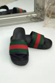 Black Chunky Style Striped Sliders
