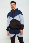Mens Blue Geometric Pattern Panel Tracksuit