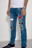 Mens Denim Patched Distressed Skinny Jeans