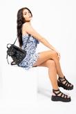Blue Ditsy Floral Ruched Bust Frill Hem Dress