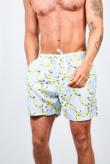 Pastel Blue Banana Print Swim Shorts