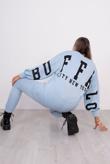 Baby Blue Buffalo Slogan Jumper And Jogger Set