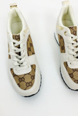 Beige Printed Panel Faux Leather Glitter Trainers