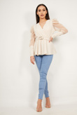 Beige Puff Mesh Sleeve Belted Blouse