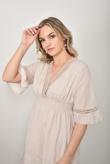 Beige V Neck Crochet Shirred Waist Dress