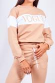 Beige Vouge Striped Loungewear Jogger Set