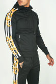 Mens Black Baroque Stripe Skinny Fit Tracksuit