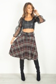 Black Checked Tartan Skirt