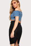 Black Denim Distressed Hem Pencil Skirt
