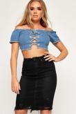 Black Denim Distressed Hem Skirt