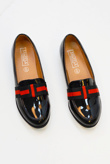 Black Striped Bow Faux Patent Loafers