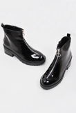 Black O Ring Zip Front Patent Chunky Hiker Boots