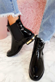 Black Patent Ankle Boots With Striped Back
