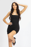 Black Ruched Double Layer Slinky Cami Dress