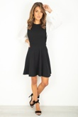 Black Skater Dress With White Pleated Sleeves