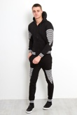 Black Stripe Skinny Fit Hooded Tracksuit