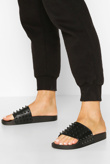 Black Studded Pool Sliders