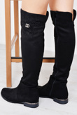 Black Studded Suede Knee High Flat Boots
