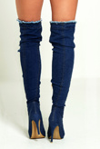 Blue Denim Ripped Thigh Boots