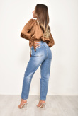 Blue High Rise Ripped Knee Mom Jeans