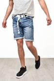 Mens Distressed Denim Shorts With Belt