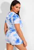Blue Tie Dye Hooded Top And Shorts Lounge Set