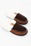 Mens Brown Faux Fur Moccasin Slippers