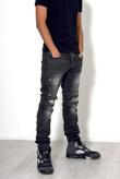 Mens Charcoal Biker Ribbed Jeans
