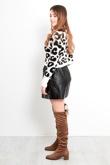 White High Neck Crop Leopard Knit Jumper