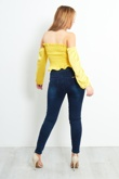 Yellow Elasticized Crop Bardot Top