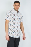 Mens White Polka Dot Butterfly Print Short Sleeve Shirt