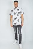 Mens White Skull Printed Shirt