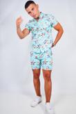 Mens Mint Floral Print Shirt And Shorts Set