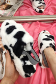 Cow Print Fluffy Faux Fur Stripe Slipper