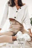 Cream Cable Cropped Button Up Cardigan