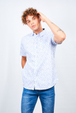 Mens White Feather Print Short Sleeve Cotton Shirt